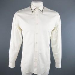 PRADA Fall 2009 Size M White Cotton Studded Collar Long Sleeve Shirt