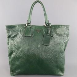 PRADA Green Textured Leather Tote Handbag