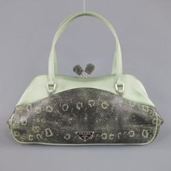 PRADA Mint Green Satin & Lizard Leather Mini Purse Handbag