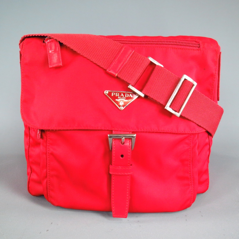 PRADA Red Nylon \u0026amp; Leather Small Cross Body Messenger Bag | Sui ...