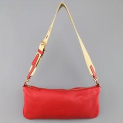 PRADA Red Textured Leather Canvas strap Shoulder Bag