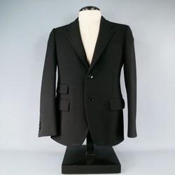 PRADA Regular Black Solid Wool Sport Coat