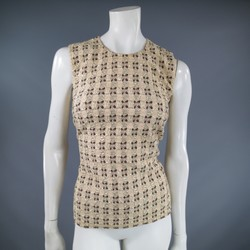 PRADA Size 10 Beige Gold Brown & Pink Jaquared Textured Sleeveless Dress Top