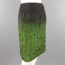PRADA Size 10 Charcoal & Green Ombre Textured Fall 2007 Skirt