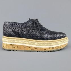 PRADA Size 10 Navy Woven Leather Cork Platform Dress Shoes