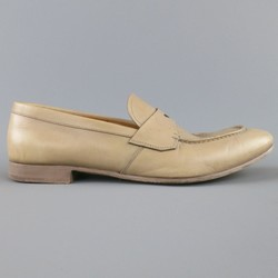 PRADA Size 10.5 Beige Leather Penny Loafers