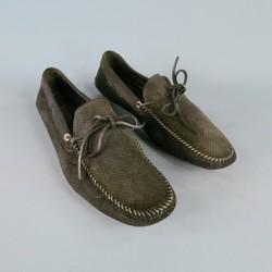 PRADA Size 11 Black Suede Loafers