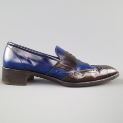 PRADA Size 11 Blue & Brown Two Tone Leather Penny Loafers