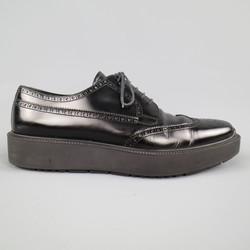 PRADA Size 12 Black Leather Wingtip Platform Rubber Sole Lace Up