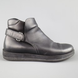 PRADA Size 12 Black Solid Leather Velcro Strap Boots