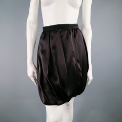 PRADA Size 2 Brown Pleated Satin Bubble Skirt