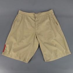 PRADA Size 31 Khaki Cotton Blend Side Tab Shorts