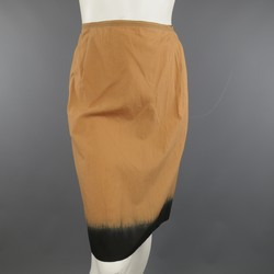 PRADA Size 4 Peach & Black Dip Dye Pleated Back Cotton A Line Skirt