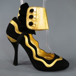 PRADA Size 6 Black & Gold Suede Ankle Ruffle Cuff Metalic Pumps SS 2008