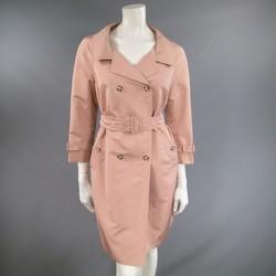 PRADA Size 6 Rose Pink Silk Blend Taffeta Portrait Collar Trenchcoat