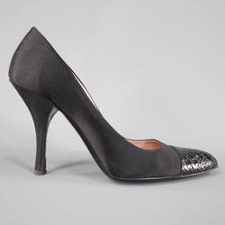 PRADA Size 7.5 Black Satin Pointed Alligator Cap Toe Pumps