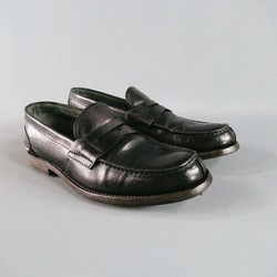PRADA Size 8 Black Textured Leather Loafers