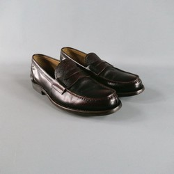 PRADA Size 8 Brown Textured Leather Loafers