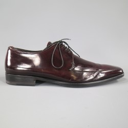 PRADA Size 8 Burgundy Patent Leather Pointed Square Toe Lace Up
