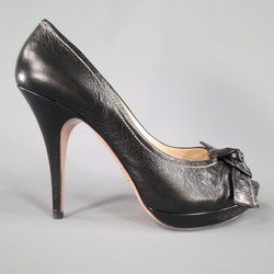 PRADA Size 9 Black Contrast Stitching Leather Peep Toe Knot Bow Platform Pumps
