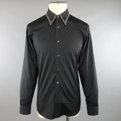 PRADA Size S Black Cotton Fall 2009 Collection Studded Collar Shirt