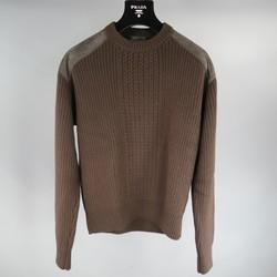 PRADA Size S Brown Wool Suede Shoulder Sweater