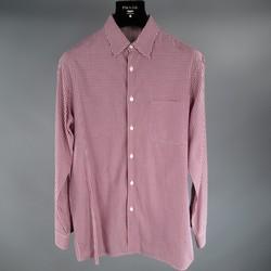PRADA Size S Burgundy Cotton Long Sleeve Checkered Pattern Shirt