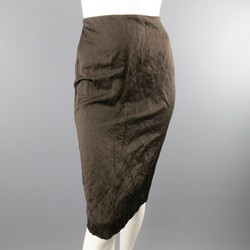 PRADA Spring 2009 Size 10 Brown Winkled Textured Cotton Metal Blend Pencil Skirt