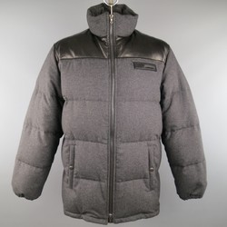PRADA XL Grey & Black Quilted Wool & Leather High Neck Puffer Jacket