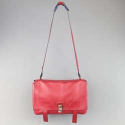 PROENZA SCHOULER Red & Blue Color Block Leather Shoulder Bag