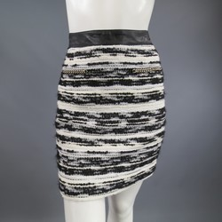 PROENZA SCHOULER Size 4 Black & White Striped Boucle Tweed Chain Mini Skirt