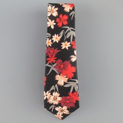 PS by PAUL SMITH Black Pink & Red Floral Print Silk Skinny Tie