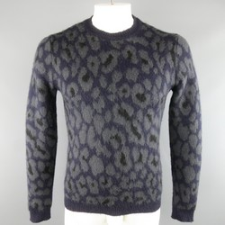 RAF SIMONS Size S Navy & Grey Cheetah Print Mohair Blend Pullover Sweater