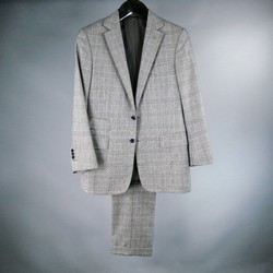 RALPH LAUREN 38 Short Gray Glenplaid Wool / Cashmere Suit