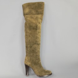RALPH LAUREN COLLECTION Size 7 Olive Suede Over The Knee Boots