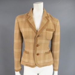 RALPH LAUREN Collection Size 6 Beige Plaid Camel Hair Suede Trim Jacket