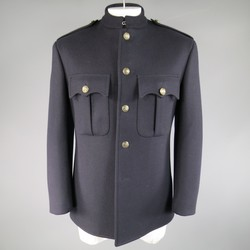 RALPH LAUREN Purple Label 42 Regular Navy Wool / Cashmere Military Jacket