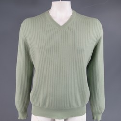 RALPH LAUREN Purple Label Size XL Mint Green Ribbed Cashmere V Neck Pullover
