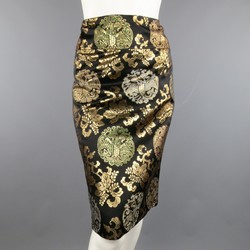 RALPH LAUREN Size 10 Black & Gold Chinoiserie Silk Jacquard Pencil Skirt