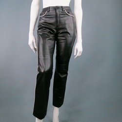 RALPH LAUREN Size 2 Black Leather White Trim Jeans
