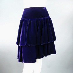 RALPH LAUREN Size 2 Purple Velvet Layered Ruffle Skirt