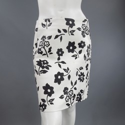 RALPH LAUREN Size 2 White Black FLoral Print Leather A line Skirt