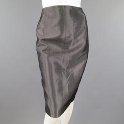 RALPH LAUREN Size 4 Metallic Grey Wool Blend Denim Pencil Skirt