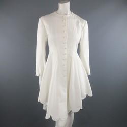 RALPH LAUREN Size 4 White Striped Cotton Scalloped High Low Shirt Dress