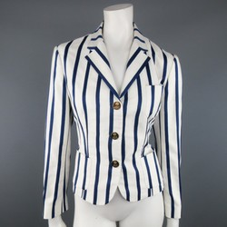RALPH LAUREN Size 8 White & Navy Striped Cotton Cropped Blazer