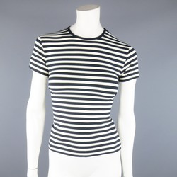 RALPH LAUREN Size L Navy & White Stretch Rayon Short Sleeve T-Shirt