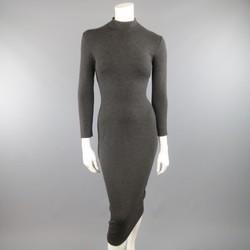 RALPH LAUREN Size M Charcoal Cashmere Blend Mock Kneck Midi Sheath Dress