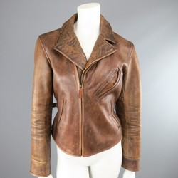 RALPH LAUREN Size M Tan Distressed Leather Biker Jacket