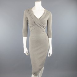RALPH LAUREN Size S Grey Cashmere Blend Wrap FROnt 3/4 Sleeve Sheath Dress