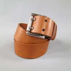 RALPH LAUREN Tan Brown Leather Silver Double Prong Buckle Belt